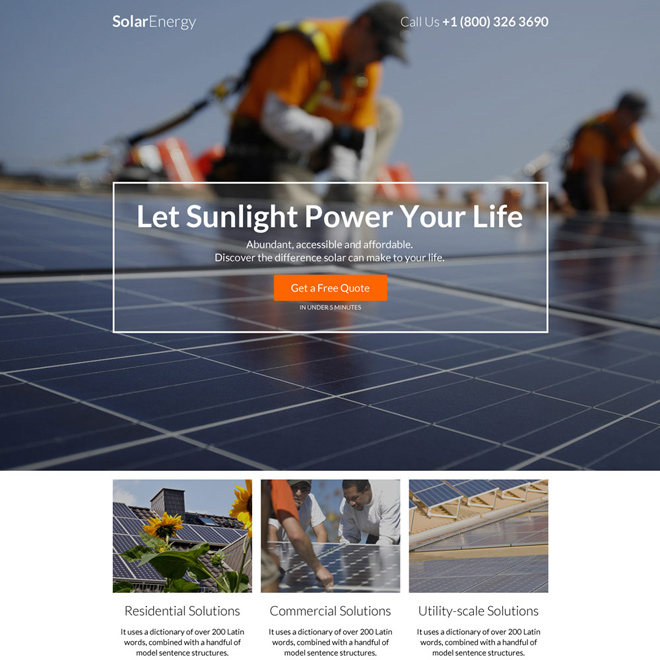 residential and commercial solar power project responsive landing page Solar Energy example