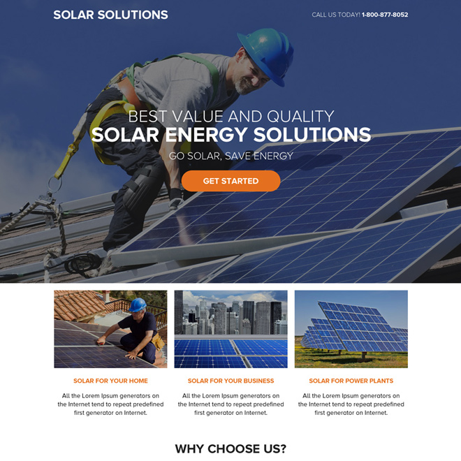 solar energy solutions call to action landing page design Solar Energy example