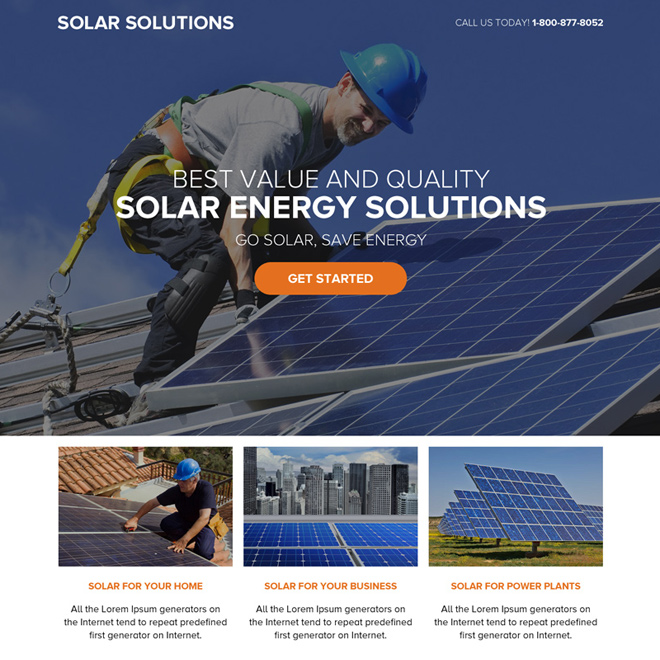 solar energy solutions call to action responsive landing page Solar Energy example