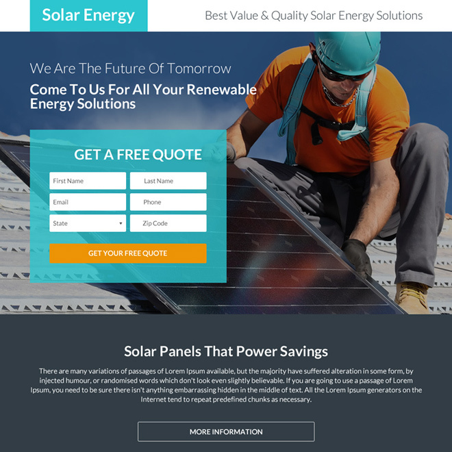 solar energy solutions free quote landing page Solar Energy example