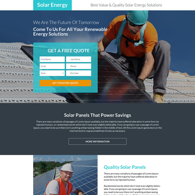 responsive solar energy solutions landing page design Solar Energy example