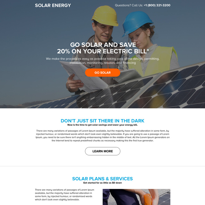 solar energy system mini landing page design Solar Energy example