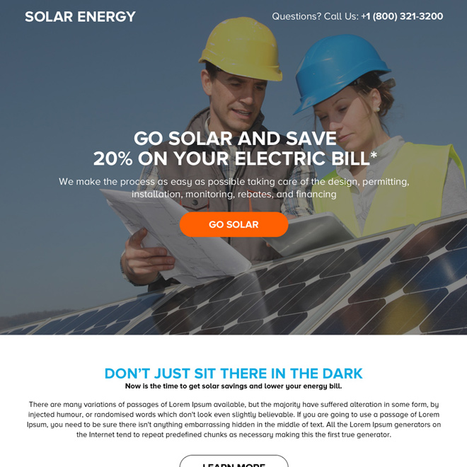 solar energy system responsive landing page design Solar Energy example