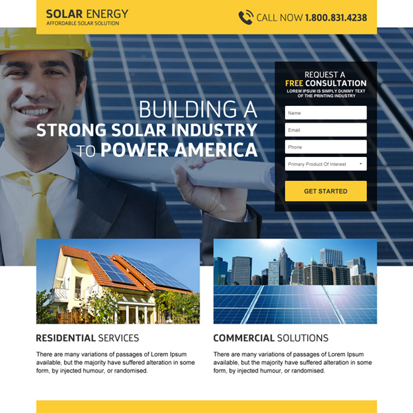 solar panel installation service free quote landing page design Solar Energy example