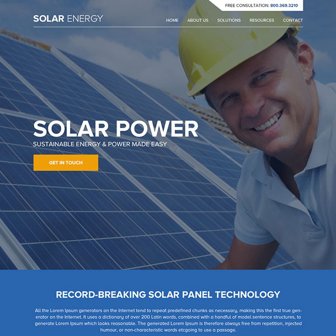 solar panel technology responsive website design Solar Energy example