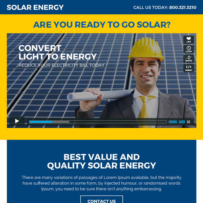 solar energy ppv landing page design with video Solar Energy example