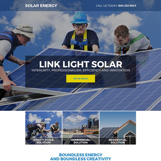 solar energy company responsive landing page Solar Energy example