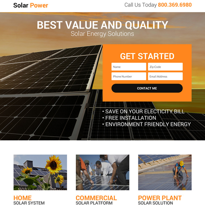 solar power solution lead gen landing page design Solar Energy example