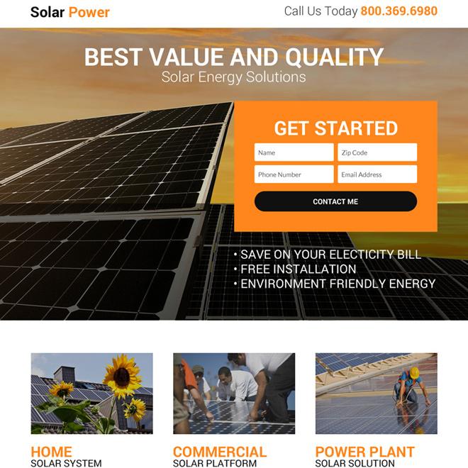 solar power solution lead gen landing page design Solar Energy example