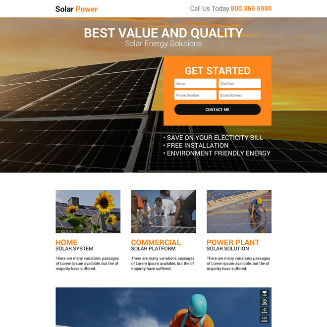 responsive solar power solution landing page design Solar Energy example
