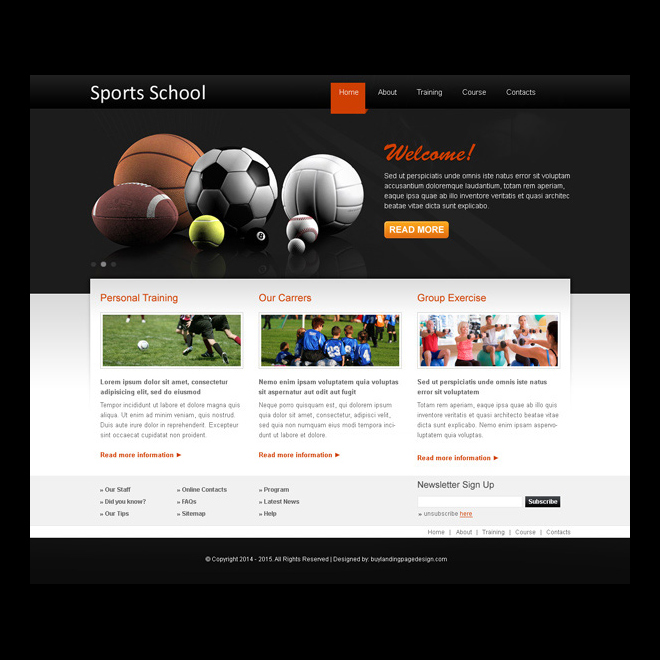 sports school clean website template design psd Sports example