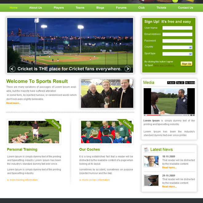 sports website template design psd for sale Website Template PSD example
