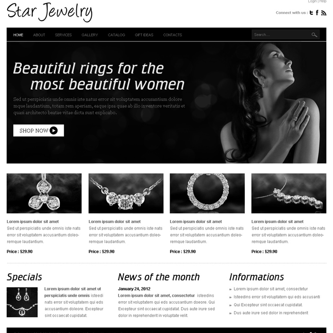 star jewelry website template design psd for jewelry and accessories Website Template PSD example