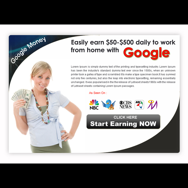 start earning with google work from home clean ppv landing page design Google Money example