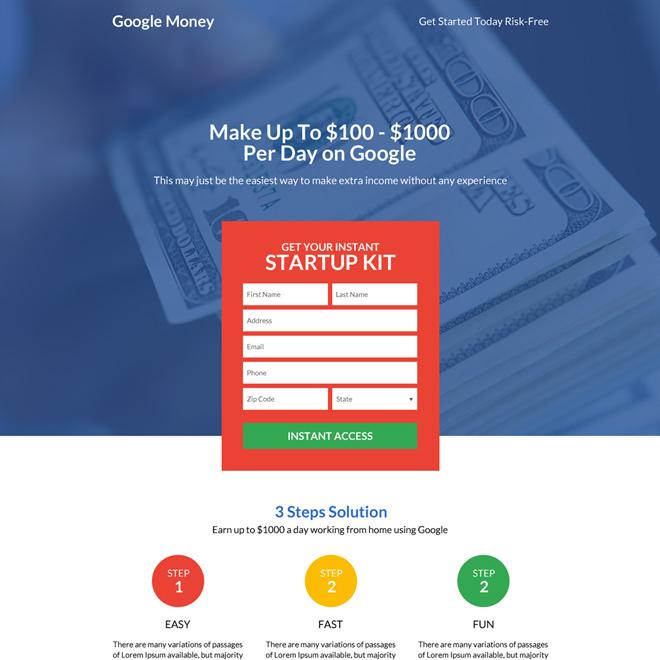 professional and premium google money landing page design Google Money example