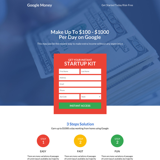 responsive google money lead boosting premium landing page Google Money example