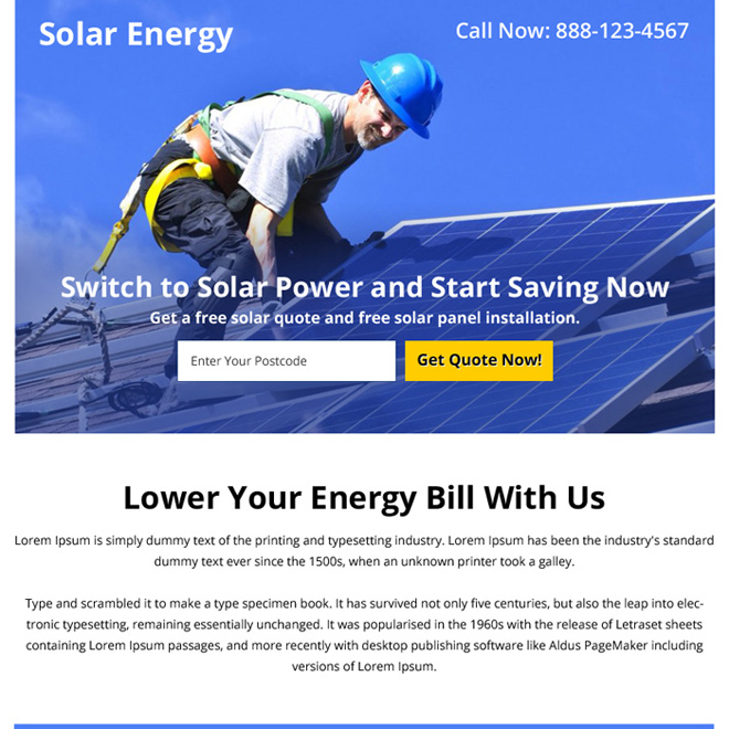 solar energy zip capturing ppv landing page design Solar Energy example