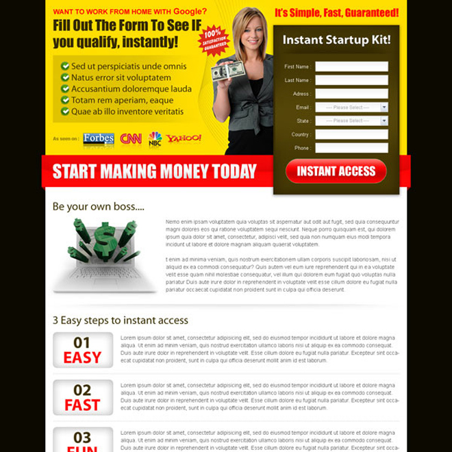 start making money today with our instant google money start up kit landing page design Google Money example