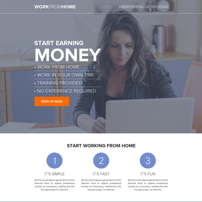 work from home sign up capturing long landing page design Work from Home example