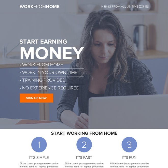 work from home business sign up capturing responsive landing page design Work from Home example