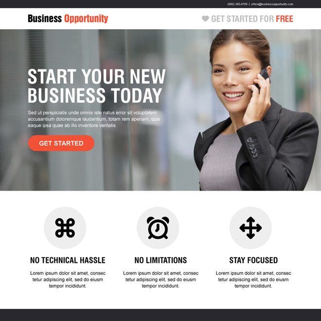 start your new business today call to action converting landing page design Business Opportunity example