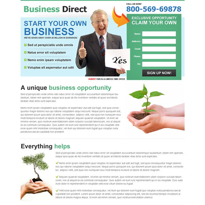 start your own business clean and converting lander design Business Opportunity example