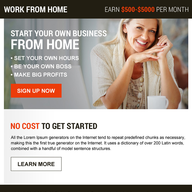 start your own business from home ppv landing page design Work from Home example
