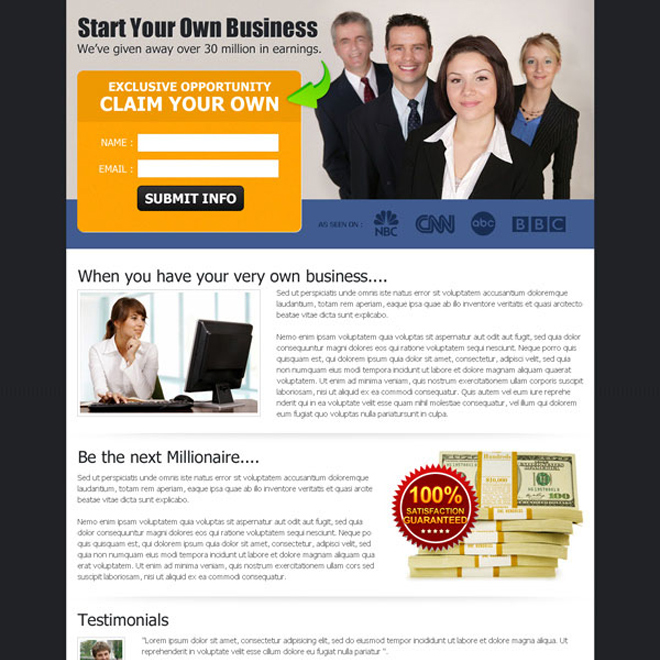 start your own business exclusive opportunity effective landing page design Business Opportunity example
