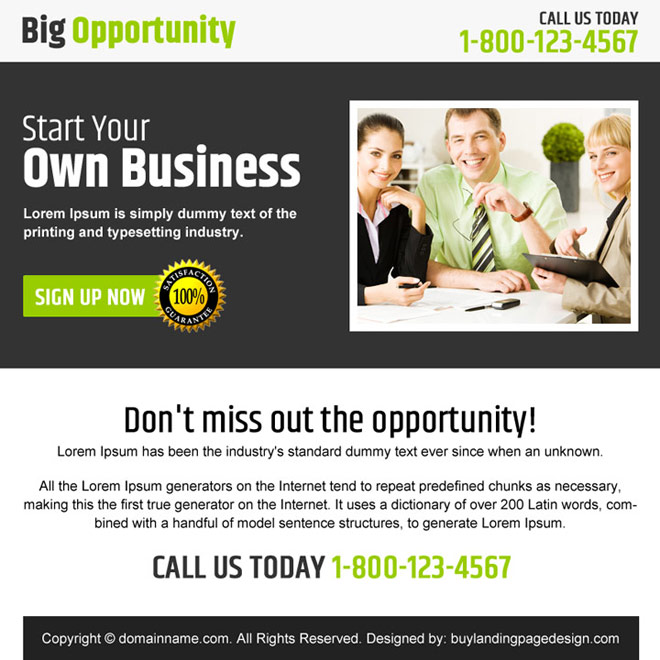 business opportunity sign up capturing ppv landing page Business Opportunity example