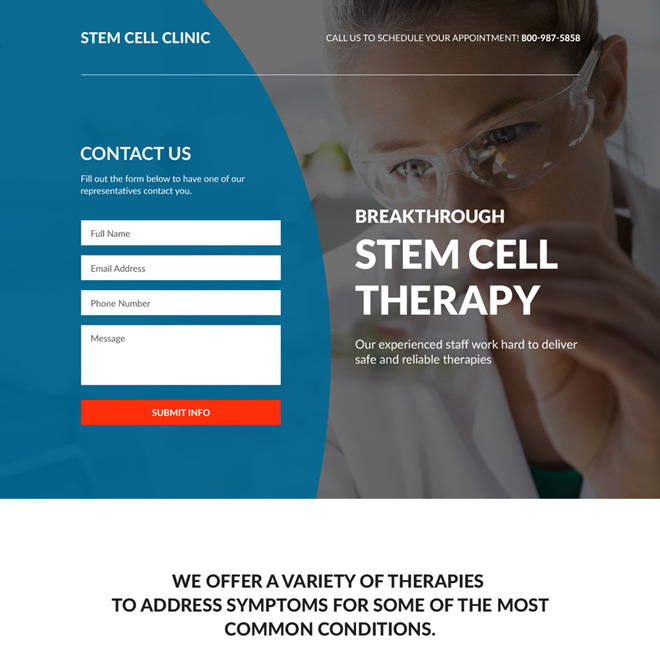 stem cell therapy clinic responsive landing page Medical example