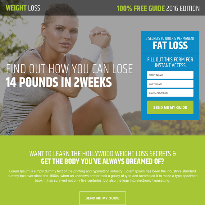 Weight loss landing page design templates example to boost sale of ...