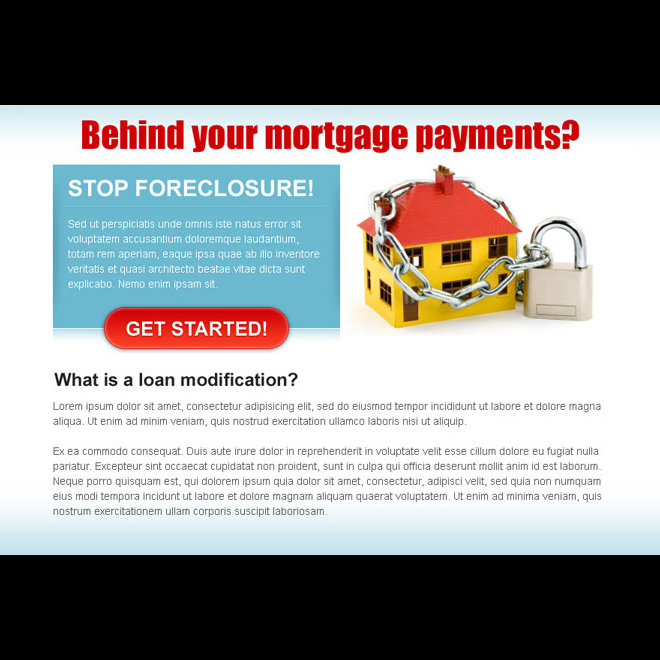 behind on your mortgage payment attractive and effective ppv landing page design Mortgage example