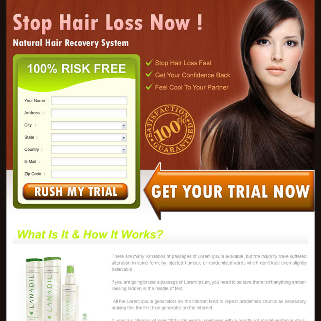 stop hair loss now effective lead capture landing page design for sale Hair Loss example