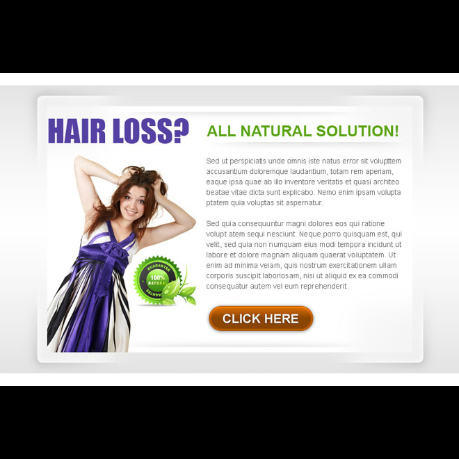 natural solution to stop your hair loss clean and appealing ppv landing page design Hair Loss example
