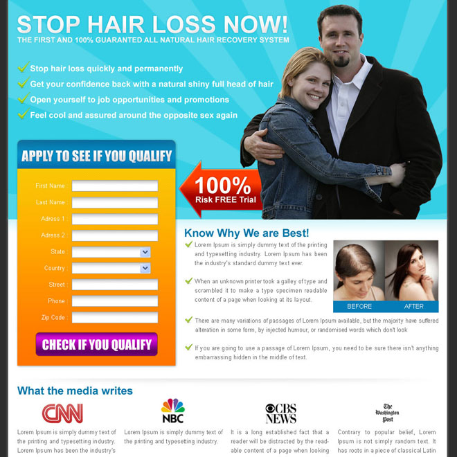 stop hair loss now lead capture squeeze page design Hair Loss example
