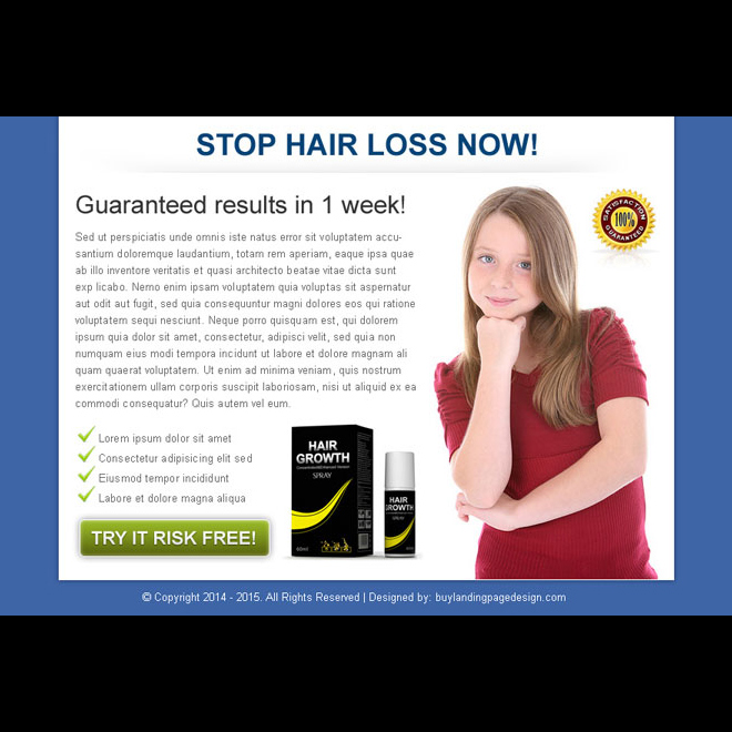 stop hair loss now clean call to action ppv landing page design Hair Loss example