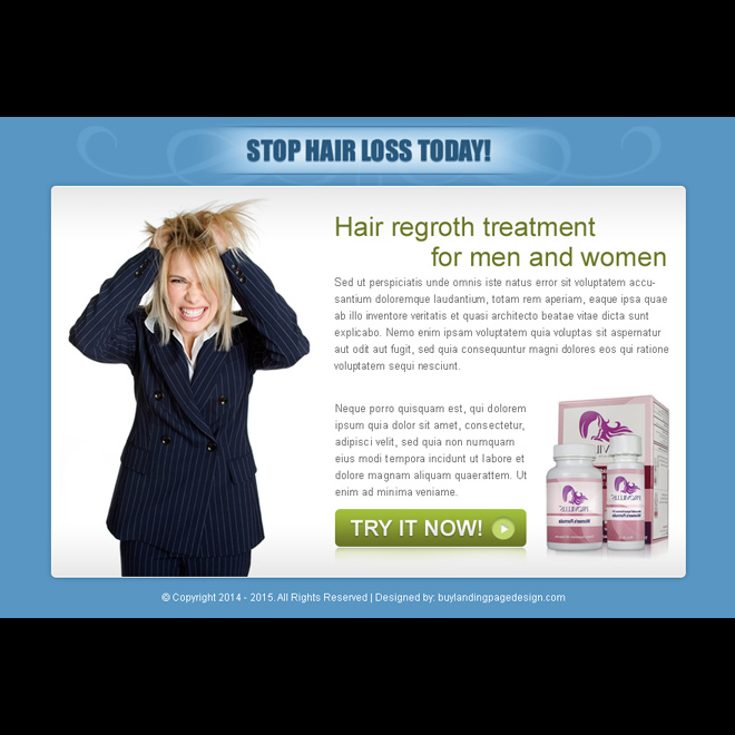 stop hair loss today effective call to action ppv landing page design Hair Loss example