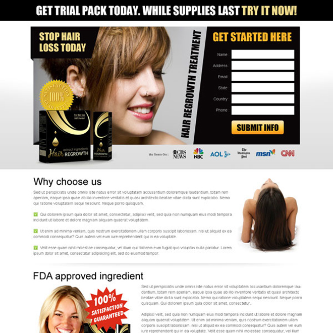 stop hair loss today product effective and converting free trail lead capture lander design Hair Loss example