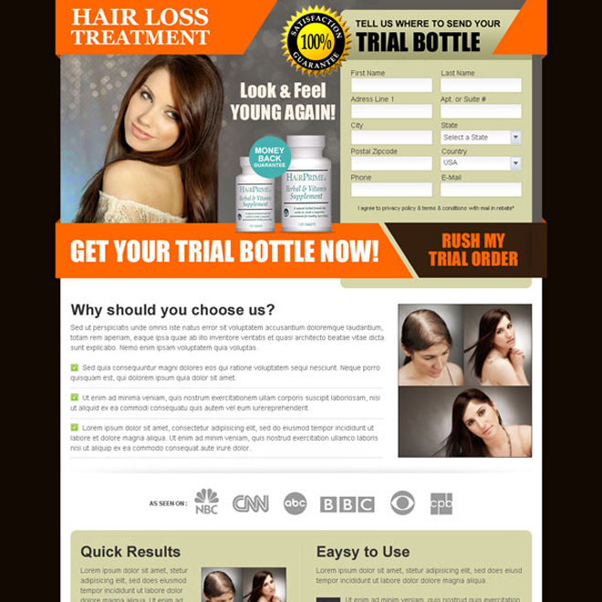 hair loss treatment product trial offer landing page design Hair Loss example
