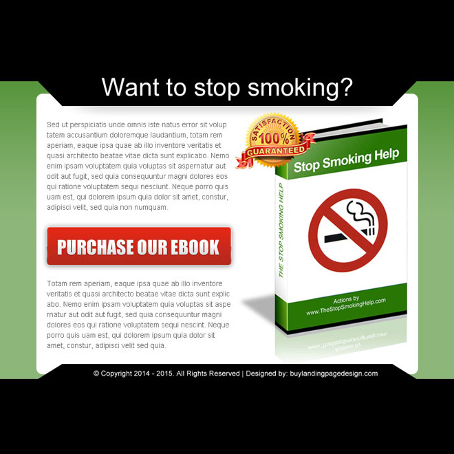 stop smoking converting ebook landing page design template PPV Landing Page example