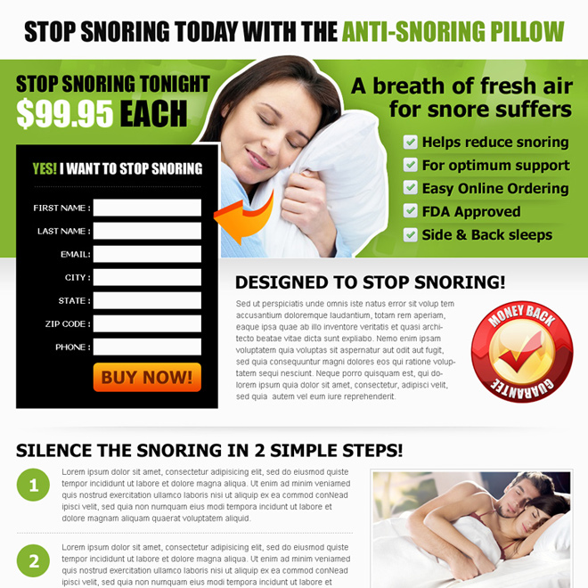 anti snoring pillow landing page design Anti Snoring example
