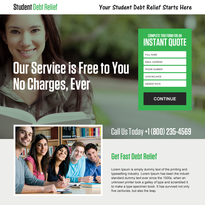 student debt relief instant quote landing page design Debt example