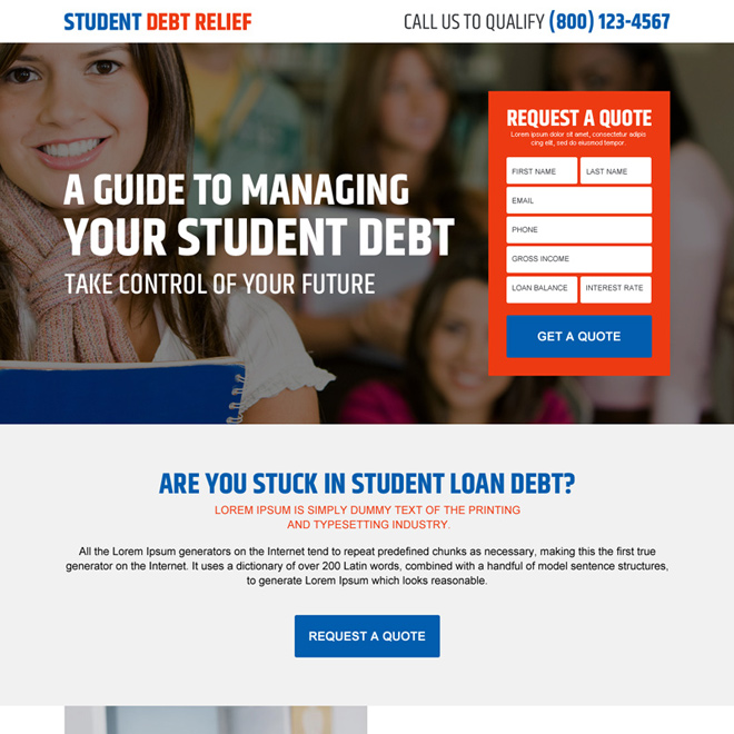 student debt relief guide converting landing page design Debt example