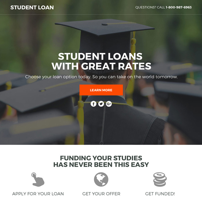 student loan lead funnel responsive landing page design Loan example
