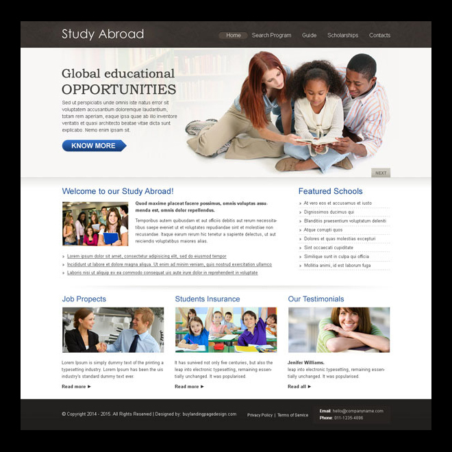 study abroad clean and converting education website template design psd Website Template PSD example