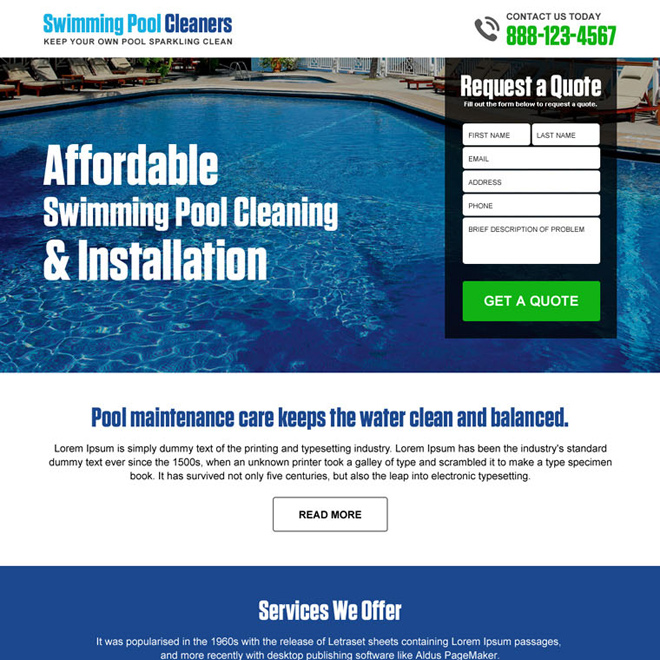 swimming pool cleaning and installation free quote lead capture landing page design Pool Cleaning example