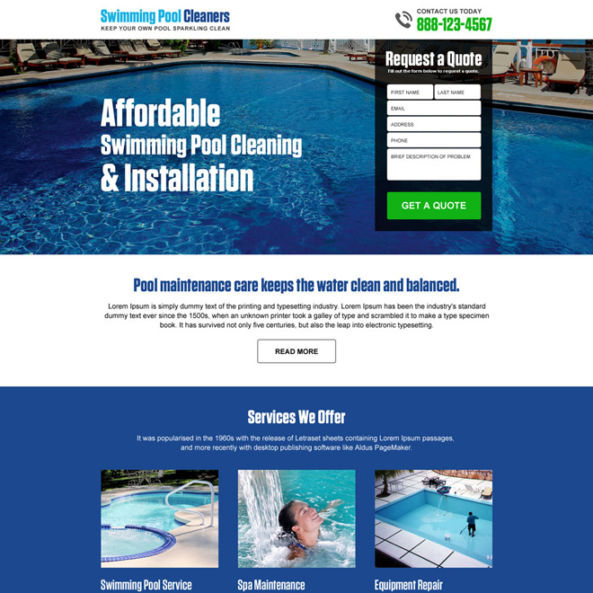 swimming pool cleaning and installation responsive landing page Cleaning Services example