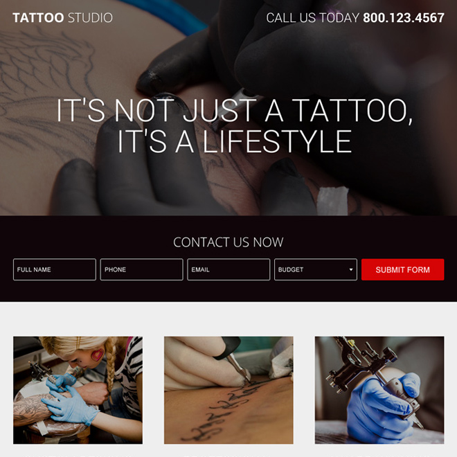 tattoo design studio lead generating landing page design Tattoo Design example