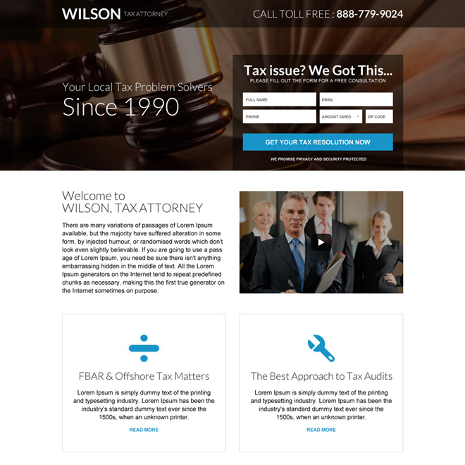 tax attorney mini lead capture landing page design Attorney and Law example