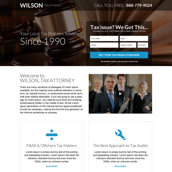responsive tax attorney professional landing page Attorney and Law example